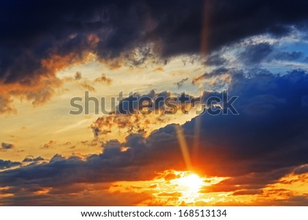 Beautiful dramatic evening sunset wallpaper horizontal hdr - stock photo
