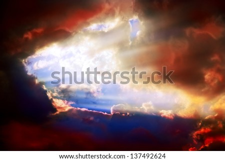 Beautiful dramatic sky with sun rays. Weather worsens - stock photo