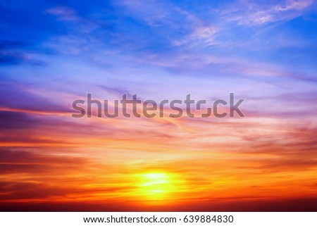 beautiful dramatic sunset and sunrise sky with clouds