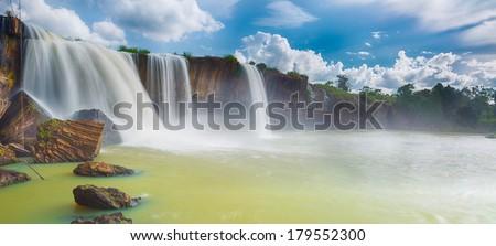 Beautiful Dray Nur waterfall in Vietnam. Panorama - stock photo