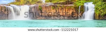 Beautiful Dray Sap waterfall in Vietnam. Panorama