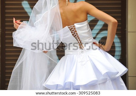 Beautiful dress of bride before wedding ceremony