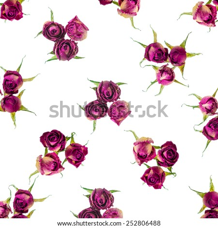 Beautiful dried pink roses like as background, closeup - stock photo