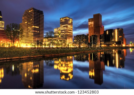 beautiful early morning view on the office buildings in the south of amsterdam the netherlands beautiful office building