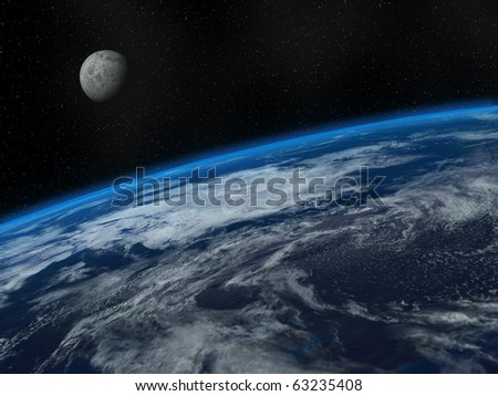 Beautiful Earth and Moon - stock photo