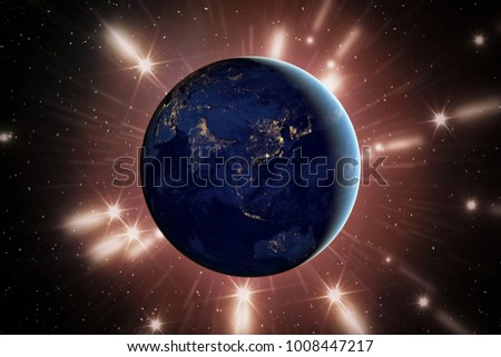 Beautiful earth from space. Night view. The elements of this image furnished by NASA.