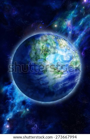 Beautiful Earth is in space. Computer graphics. - stock photo