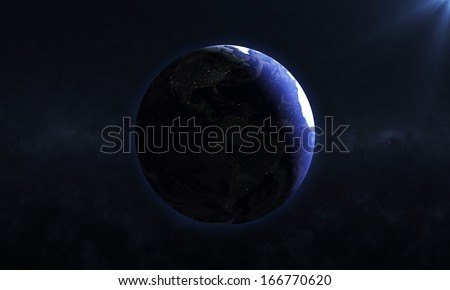 Beautiful Earth Planet with Rising Sun (Elements of this image furnished by NASA) - stock photo