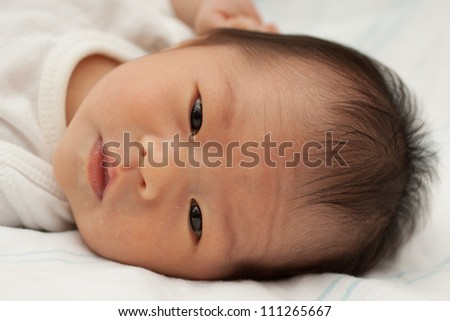 Beautiful East Asian Infant Girl Lying Down