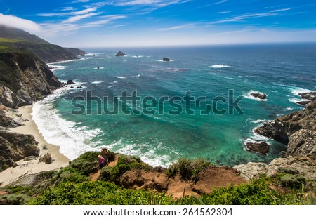 Beautiful East coast from Big Sur, California. - stock photo
