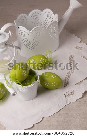 Beautiful easter background  white objects on a wooden background
