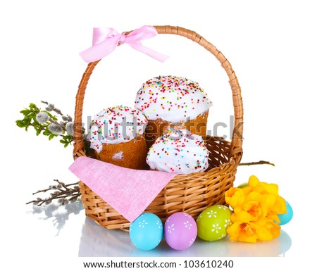 beautiful easter cakes basket colorful eggs stock photo