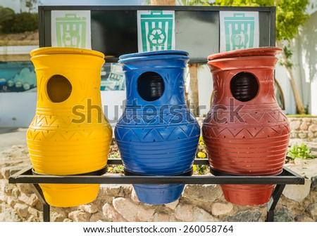 Beautiful eco pitchers operated waste - stock photo