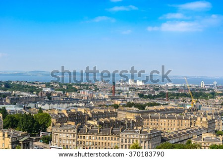 Beautiful Edinburgh city, top view, Scotland, United Kingdom - stock photo