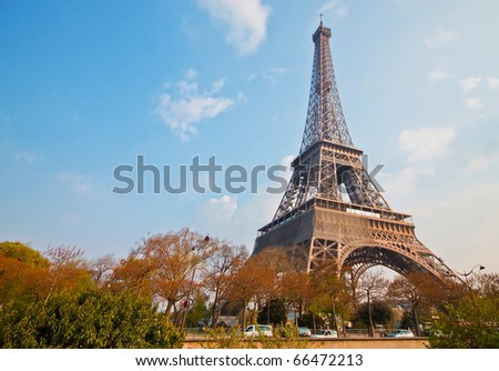 Beautiful Eiffel tower in Paris with blue sky background - stock photo