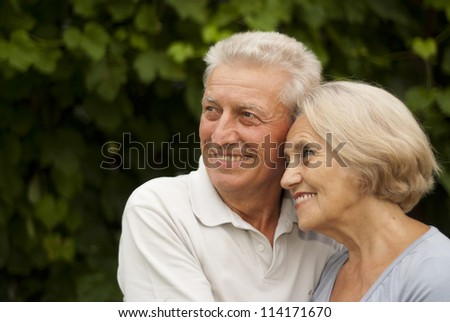 Beautiful elderly couple in the garden on a background of green trees and bushes - stock photo