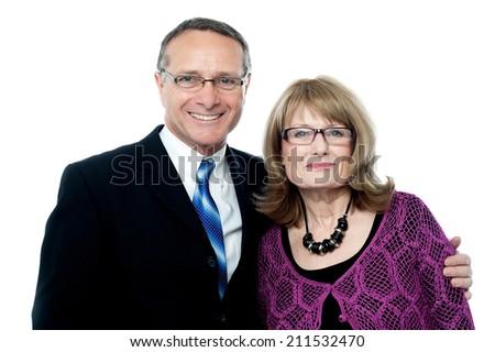 Beautiful elderly couple on a white background - stock photo