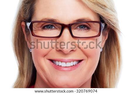 Beautiful elderly lady wearing eyeglasses close-up. - stock photo
