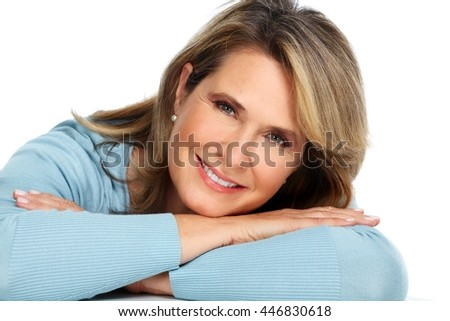 Beautiful elderly woman portrait. - stock photo