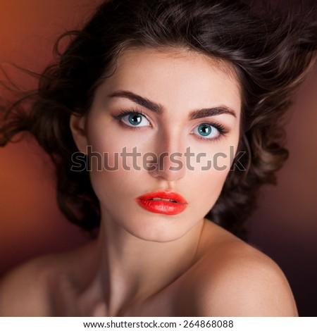 beautiful elegance lady woman sensual face blue eyes studio portrait professional light nature romantic wellness gloss hair brunette luxury orange background french - stock photo