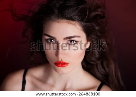 beautiful elegance lady woman sensual face brown eyes studio portrait professional light nature romantic wellness gloss hair brunette luxury red background french - stock photo