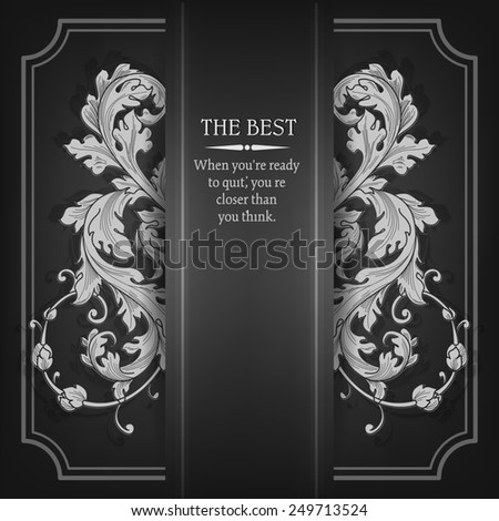 Beautiful elegant background with lace floral ornament and place for text. Design elements, ornate background.  - stock photo