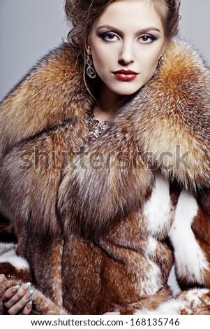 Beautiful Elegant Woman Fur Coat Stock Photo 168135746 - Shutterstock