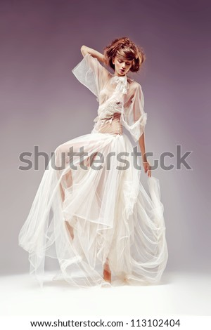 Beautiful elegant woman in white vintage dress - retro victorian style, renaissance. Heritage - stock photo