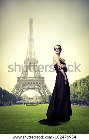 Beautiful elegant woman on a meadow with Eiffel Tower in the background - stock photo