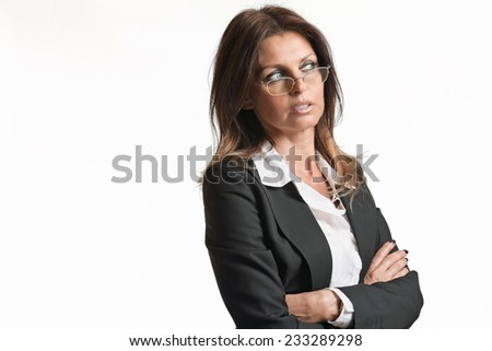 Beautiful elegant woman with eyeglasses . White backdrop for business concept