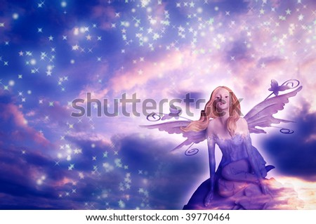 beautiful elf fairy with stars and sunset sky - stock photo