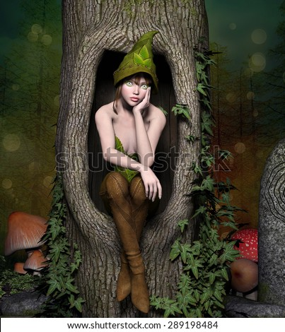 Beautiful elf sits in a trunk - stock photo