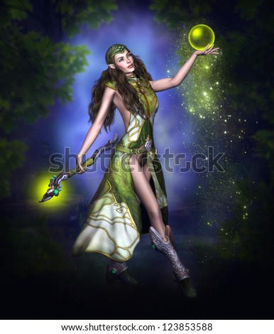 Beautiful elven warrior with magic green glowing sphere.