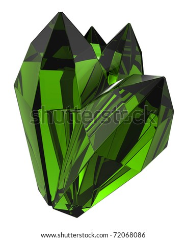 beautiful emerald crystal - stock photo