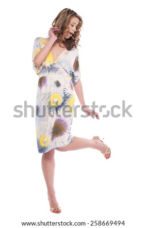 Beautiful emotional and funy girl pose on white background - stock photo
