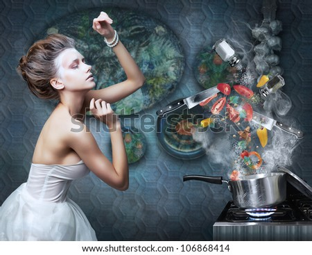 Beautiful Emotional Woman Housewife in Kitchen Interior Cooking. Art Creative concept. Stove - stock photo