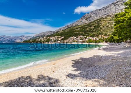 Beautiful Empty Sandy Beach Near Baska Voda - Baska Voda, Makarska, Dalmatia, Croatia - stock photo
