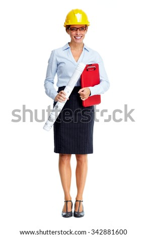 Beautiful engineer woman isolated over white background. - stock photo