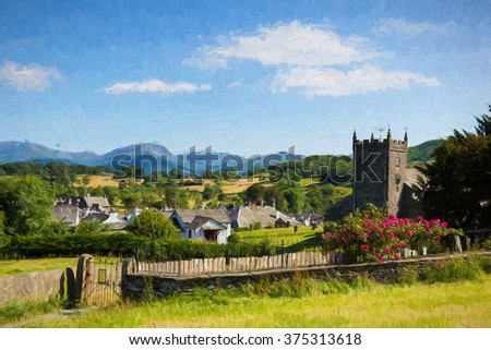 Beautiful English country village of Hawkshead Lake District Cumbria UK in summer with blue sky church and red roses illustration like oil painting