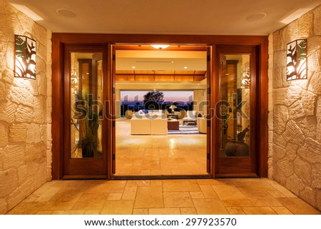 Beautiful Entrance to Luxury Home  - stock photo