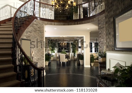 Beautiful Entry Staircase This Luxury Stairway Entry Architecture Stock Images, Photos of Staircase, Living room, Dining Room, Bathroom, Kitchen, Bed room, Office, Interior photography. - stock photo