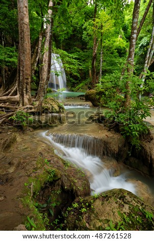 Beautiful erawan waterfall in forest  thailand
