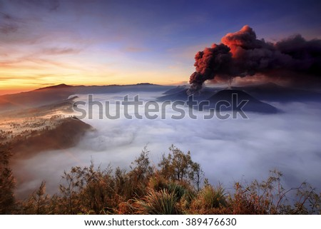beautiful eruption volcano  mount Bromo  locations East Java Indonesia - stock photo