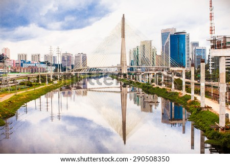 Beautiful Estaiada Bridge in Sao Paulo landmark,  Brazil. Latin America.  - stock photo