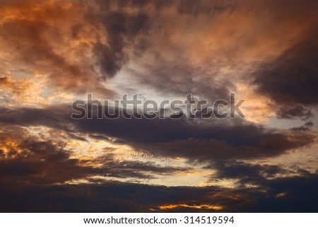Beautiful evening clouds as interesting background, summer, by Beckingen, Saarland/Germany