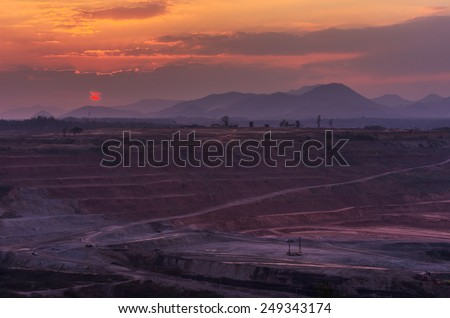 Beautiful evening landscape of coal mines in the district Mae Mo Lampang. - stock photo