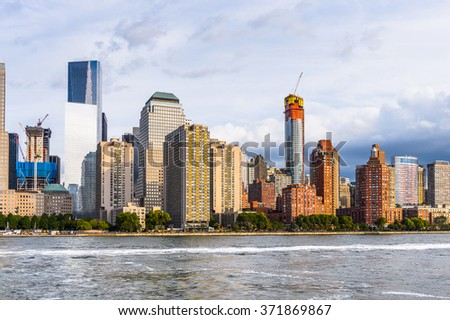 Beautiful evening view of the Lower Manhattan, New York City, United States of America