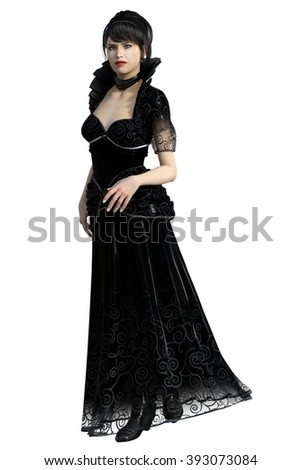 Beautiful evil stepmother in long black dress with high collar