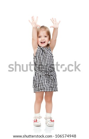 beautiful excited little girl hold hands up happy isolated on a white background - stock photo