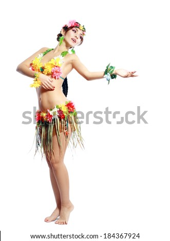 Beautiful exotic girl with Hawaiian accessories, hula dancer isolated on white